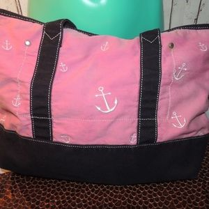 J.Crew pink with white anchors beach bag